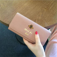 Wholesale Bee Coin - Real leather purse casual wallets Fashion bags with Metal bee Large capacity card holder Women's wallet