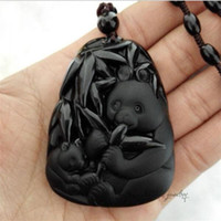 Wholesale Hand Carved Necklace - 2016 New Fashion Arrival Real Fashion Hand-carved Panda Pendant Natural Obsidian Necklace Fine Jade Jewelry For Women Men Sale Free Rope