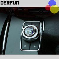 Wholesale Decorative Car Interiors - Car styling AMG emblem Multimedia button decorative 39mm 52mm Diameter labeling interior 3D sticker for Mercedes Benz GLK GLA,E
