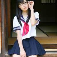 Wholesale japanese women costumes - Wholesale-Japanese school girl uniform | 3 white bar , short sleeve , red scarf sailor suit | cosplay JK uniform clothing women