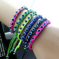 Wholesale Evil Eye Gold Bracelet Plated - Blue evil eye beads bracelet with string handmade braid colorful friendship bracelet for kids women jewelry pulseras charm bilezik