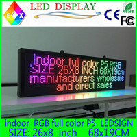 Wholesale Led Scrolling Sign Green - 26X8 inch P5 indoor full color LED display scrolling text Red green blue white yellow and blue orange LED open sign billboard