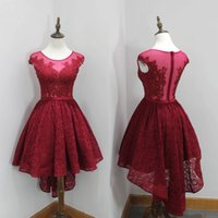 Discount discount-discount - Vintage Hi-Lo Red Lace Short Prom Dresses with Appliques Beaded Sheer Crew Neckline Zipper Back Party Gowns Fast Shipping