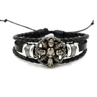 Wholesale Skulls For Boys - Europe Punk Skull Ring Bracelet for Men Non-mainstream Personality Rivet Leather Bracelet Boys Bracelet Accessories Wholesale