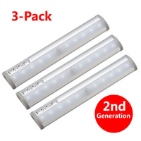 Wholesale 6v Rechargeable Pack - 10-led Wireless Motion Sensing Stick-on Anywhere Step LED Light Bar with Magnetic Strip, Pure White, 3-Pack
