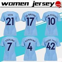 Wholesale Girls City Shorts - .City Women home blue Soccer Jerseys 2017 18 Women #10 KUN AGUERO home blue Football Shirts 17 18 girls #33 G.JESUS Soccer shirt female