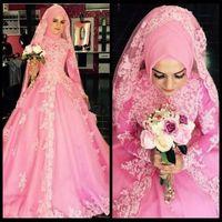 rosa hochzeit abaya großhandel-Saudi-arabien Langarm Muslim Brautkleid 2016 Rosa Spitze Dubai Braut Ballkleider Abaya High Neck Applique Robe de mariage