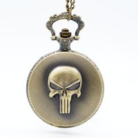 Wholesale Necklace Skull Pocket Watch - Vintage Retro The Punisher Skull Dial Roman Numeral Quartz Pocket Watch Analog Pendant Necklace Men Women Watches Chain Gift
