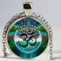 Wholesale Womens Ethnic Jewelry - Hot 2016 Ethnic Namaste Necklace Om Yoga Jewelry Lotus Zen Pendant Glass Photo Cabochon Necklace For Womens Mens