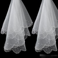 Wholesale Cheap Pencil Gowns - 2016 New Veil For Pearls Wedding Dress Bridal Gown Pencil Edge White Ivory Red Tulle One Layers Without Comb Cheap Size 150cm-95cmg