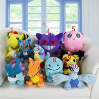 Wholesale Stuffed Lugia - Poke plush toys 10 styles Charizard Wobbuffet Lugia Pikachu Jigglypuff gengar Lucario Ampharos Animals Soft Stuffed Dolls toy