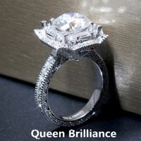 Queen Brilliance 3Carat ctw F color Lab Grown Moissanite Diamond Engagement Wedding Ring Genuine 14K 585 Or blanc pour femmes 17903