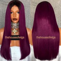 Wholesale Two Toned Indian Remy Hair - New Arrival Two Tone Color Ombre Full Lace Wig With Roots Glueless Lace Front Wig Straight For Women Ombre Lace Wigs Remy Hair
