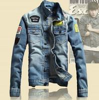 Wholesale Army Print Jeans - Spring Mens Jackets Brand New Slim Fit Vintage Denim Patch Designs Jeans Jacket Men Coats Plus Size Jaqueta Masculina MJK13