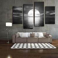 ingrosso tela incorniciata di tela di canapa-4 Panels Bright Moon Painting Black White Seascape Stampa fotografica su tela con cornice in legno pronta per essere appesa