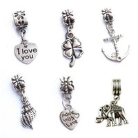 Wholesale Lucky Grass Pendant - Four Leaf Clover Lucky Grass Heart Conch Elephant Big Hole Charm Pendants DIY Silver Plated Jewelry Accessories Necklace Bracelet Pendant