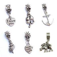 Wholesale Lucky Clover Heart Bracelet - Four Leaf Clover Lucky Grass Heart Conch Elephant Big Hole Charm Pendants DIY Silver Plated Jewelry Accessories Necklace Bracelet Pendant