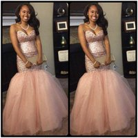 Wholesale Teen Strapless Dresses - Shinning Pink Sweetheart Mermaid Prom Dress Major Beading Sequins Tulle Girls Pageant Dress For Teens Lace Up Back Celebrity Evening Gowns