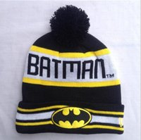 Wholesale Sun Hats Hip Hop - Men Head Hat Hip-Hop Unisex Batman Superman Street Skateboarding Beanie Mans Women Girls Autumn Winter Knit Cotton Wool Hats Snapback Caps