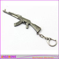 Wholesale Cross Fire Gun Keychains - Gun Pendant Keyrings Pop Game CF Cross Fire AK47 Gun Key Chains Metal Pendant Metal KeyRing Keychain