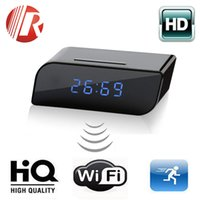 Wholesale Wifi IP Wireless HD P Clock Camera Spy Hidden IR Home Security Network DVR DV Surveillance Camera Night Vision
