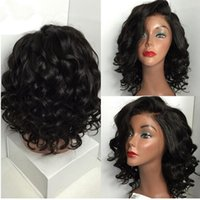 Wholesale Human Auburn Wig - Unprocessed Short Human Hair Lace Wigs Baby Hair Water wave Brazilian Lace Front Wigs   Short Full Lace Wig For Black Women 8A Grade