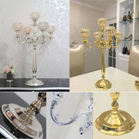 Wholesale Wholesale Wedding Candelabras - 75CM Metal Gold Silver Candle Holders 5-Arms With Crystals Stand Pillar Candlestick For Wedding Table Centerpieces Decoration