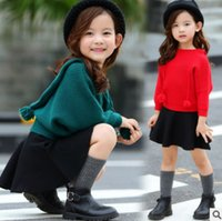 Wholesale Bat Girl Outfit - Children sweater outfits girls pompon hooded bat sleeve princess pullover+skirt 2pcs sets autumn kids knitting warm clothing R0295