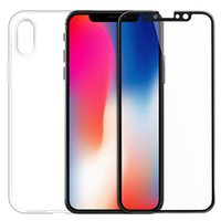 Wholesale Transparent Soft Glass - For Iphone X Case Ultra Thin Soft TPU Case with Tempered Glass Film for iphone x