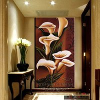 Wholesale High Grade Oil Paints - New Arrival High grade Entranceway decorative painting mural oil paintings handpainted calla lily flowers modern wall art