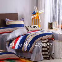 Wholesale Striped Full Flat Sheet - designer striped cotton bedding sets home textile full queen size quilt duvet cover, flat sheet, pillowcases comforter set 4 5pc