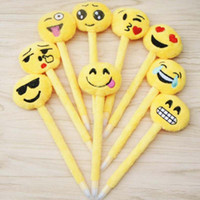 Wholesale Expressions Notes - 10pcs lot Cute Expression Ballpoint Pens Novelty Cartoon Plush Plastic Ballpen Stationery School Office Supplies Free Shipping Papelaria