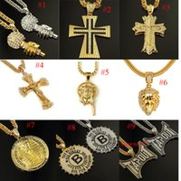 Wholesale Thick Charm Chain Necklace - 2016 hip hop Jewelry winter style full crystal lion head thick gold plated chain necklace joyas de oro 18k hombre animal colar de lux