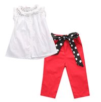 Wholesale Tank Top Hot Girl - hot sale girl suit Kids Baby Girls Summer fashion Outfit Net Vest tops & Red Long Bowknot Pants Clothes lace tank top+trousers girl's suits