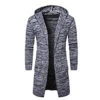 свитер с капюшоном оптовых-Новый мужской моды Кардиган с длинным рукавом с капюшоном вязать свитер длинные пальто зимняя куртка