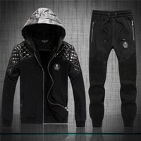 Wholesale Knit Hats Beads - Brand pp 2016 New arrivial philip-pleinn men's leather stitch skull sports suits Mens fashion Hedging with hat tracksuits Free shipping 6123