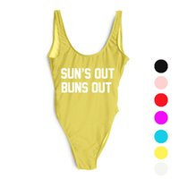 Wholesale Low Back Bodysuit - Wholesale- SUN'S OUT BUNS OUT Letter Swimsuit Sexy Thong One Piece Swimwear Women Low Back High Cut Monokini Bathing Suit Rompers Bodysuit