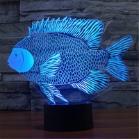 2016 New USB Acrylique Colorful Fish Nightlight Chambre Bureau LED Lampe de table Enfant Ocean World Cadeau de Noël-156
