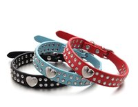 Wholesale Crystal Puppy Collars Free Shipping - PU leather dog collar Studded Crystal Rhinestone with sweet heart charms Necklace Adjustable pet Puppy for small medium breeds free shipping