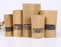 Wholesale Jute For Paper Bag - 100Pcs Food Moisture-proof Bags,Window Bags Brown Kraft Paper Doypack Pouch Ziplock Packaging for snack,Cookies