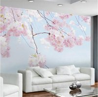 Wholesale Custom Landscapes - Custom Photo Wallpaper Cherry Blossom Beautiful Floral Wall Mural Backdrop Living Room 3D Room Landscape Wall Papers Home Decor