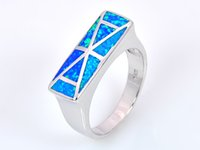 Atacado Retail Fashion Fine Blue Fire Opal Ring 925 Silver Plated Jewelryr para mulheres EMT1517012