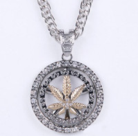 Pendant Necklaces China-Miao Unisex The new fashion alloy turn the hip hop jewelry rotating pendant necklace