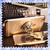 anillo de diamantes de manzana al por mayor-Soporte de dedo del amor cajas de teléfono de anillo de amor para iPhone 7 5 5S 6 6S 6 más casos contraportada