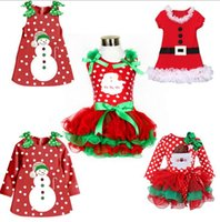 Wholesale Girls Long Sleeved Lace Dress - Christmas Dress Girl New Year Costume Cotton princess Long sleeved 0Top Dresses Baby Dress 5 p l