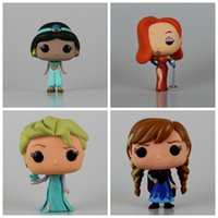 Wholesale Princess Figurines - 4 Styles Funko Pop Frozen Elsa Anna Model Aladdin Jasmine Princess Vinyl Figurine Collection Toy Model With Retail Box CCA7283 72pcs