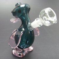 Wholesale Mother Duck - Glass Mini Hookahs Cute Brown Duck Water Pipes mini Glass Water Bongs Recycler bubbler beaker mother&ship heady oil rig bongs