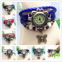 Wholesale Silicone Bangle Watches - 7 colors luxury watches weae wrap around leather bracelet watch luxury butterfly women girls ladies wristwatch women dress bangle watches