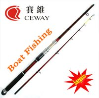 Wholesale Carbon Rod Pole - Carbon Fishing Rod Red Boat Power Fish Ocean Jig Jigging Deep Sea Pole 2 sections 2.1m 2.4m 2.7m FREE SHIPPING