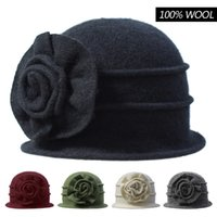 Wholesale Elegant Formal Hats - England Ladies Autumn Winter Flanging 100% Wool Felt Vintage Elegant Dome Hat Cap